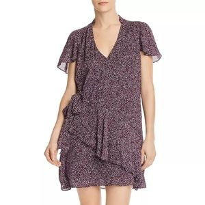 PARKER Indie Ruffled Printed Silk Dress NWT